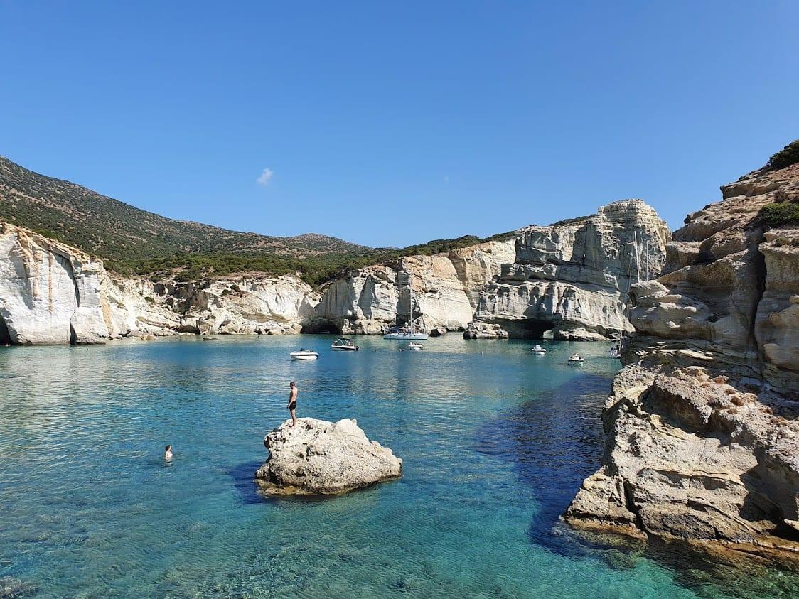 Swimming at Kleftiko Bay in Milos Greece