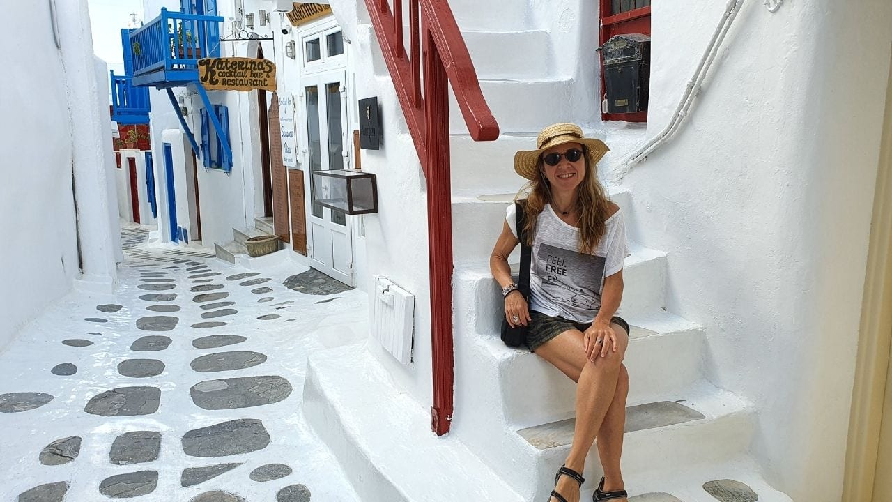Inside the Old Town of Mykonos island in Greece