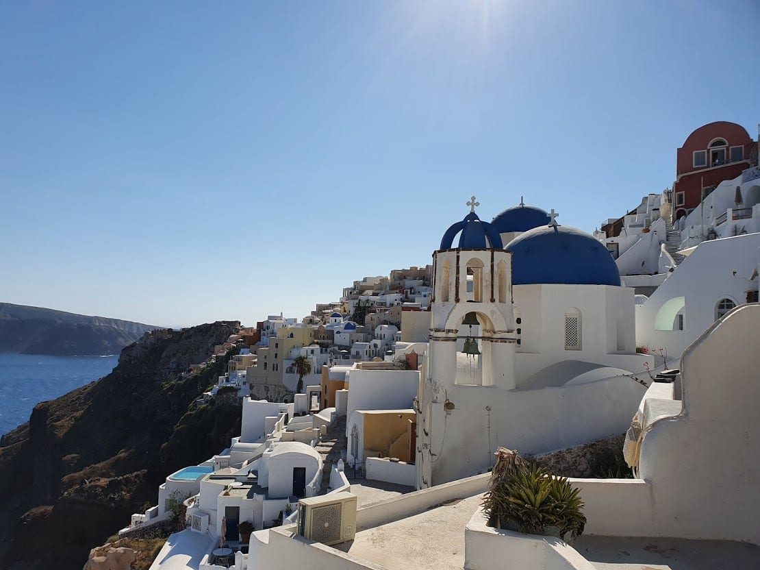 Blue and white buildings of Santorini island in greece