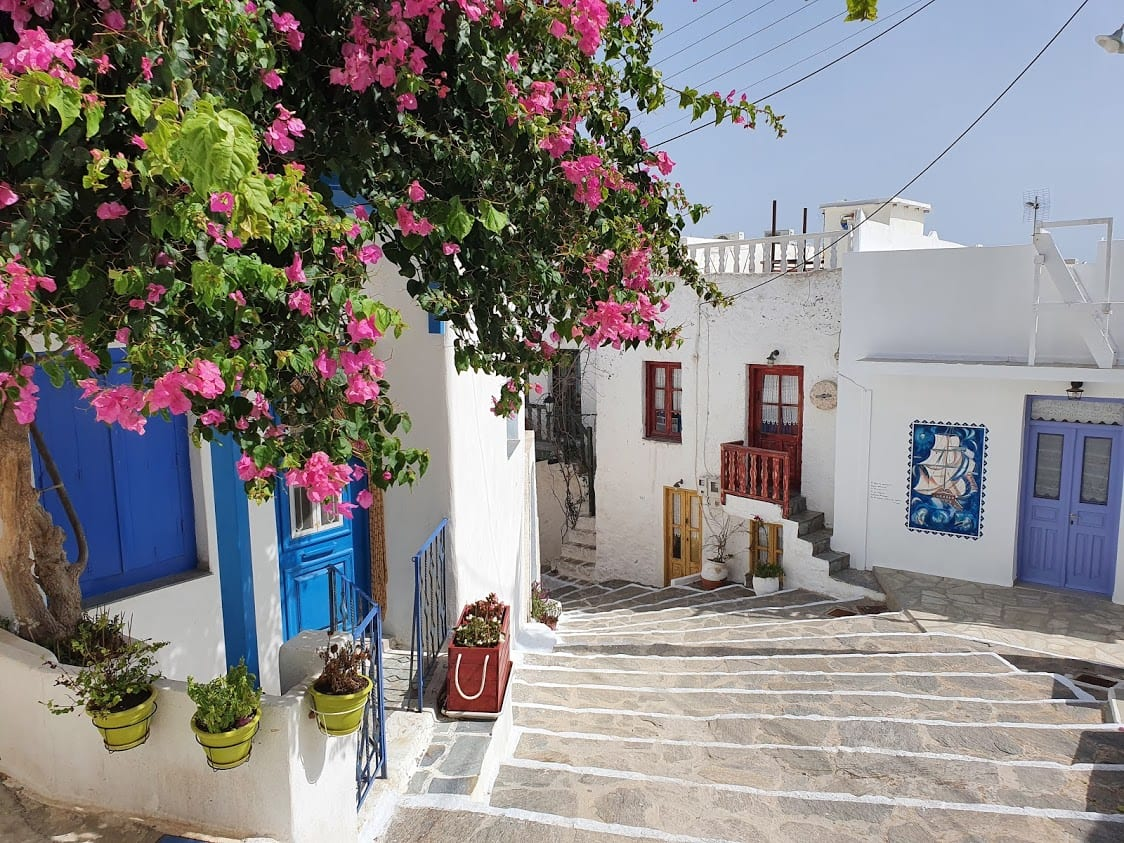 Walking through Plaka in Milos island in Greece