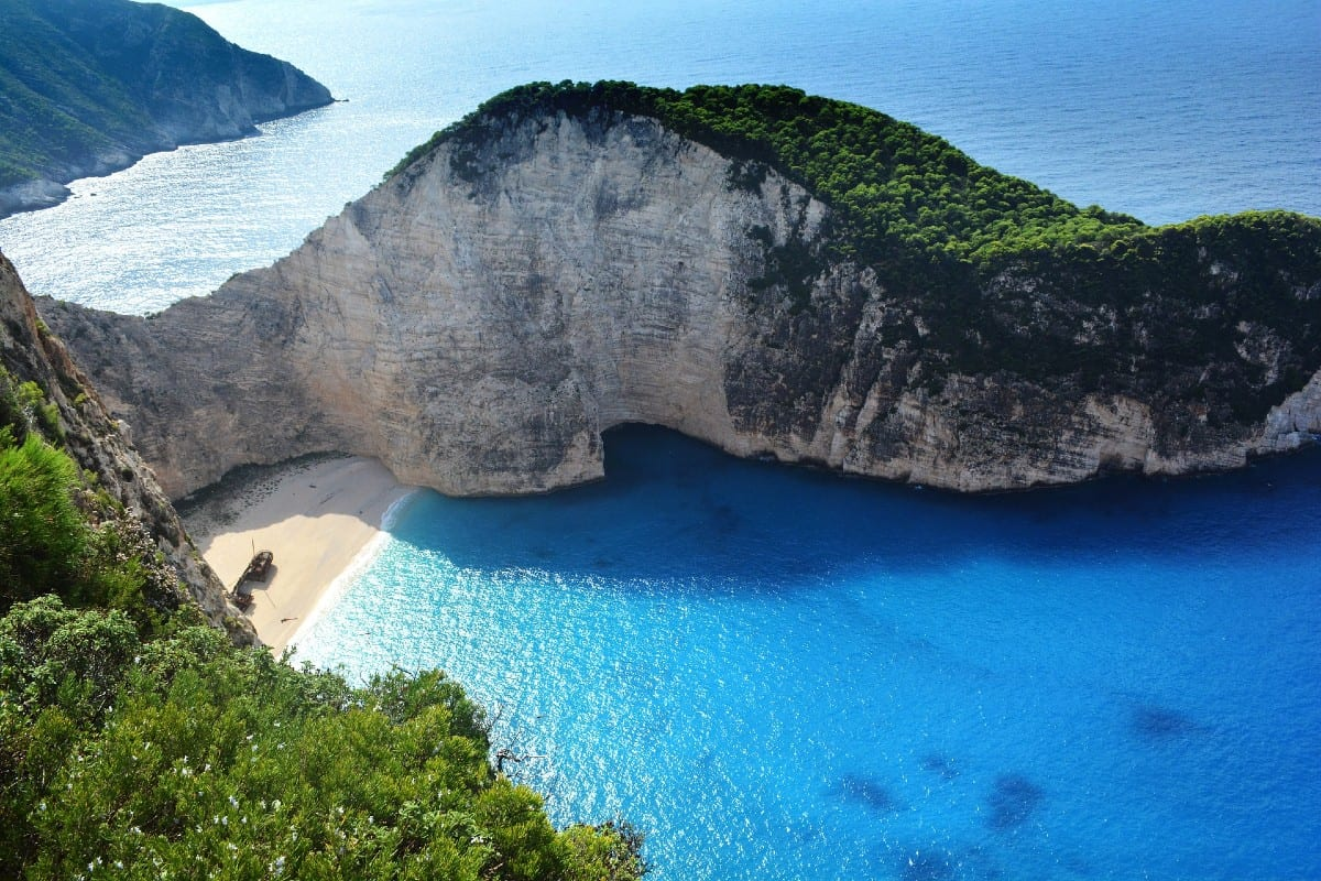The shipwreck beach in Zakynthos is perhaps the most famous if not the best beach in greek islands