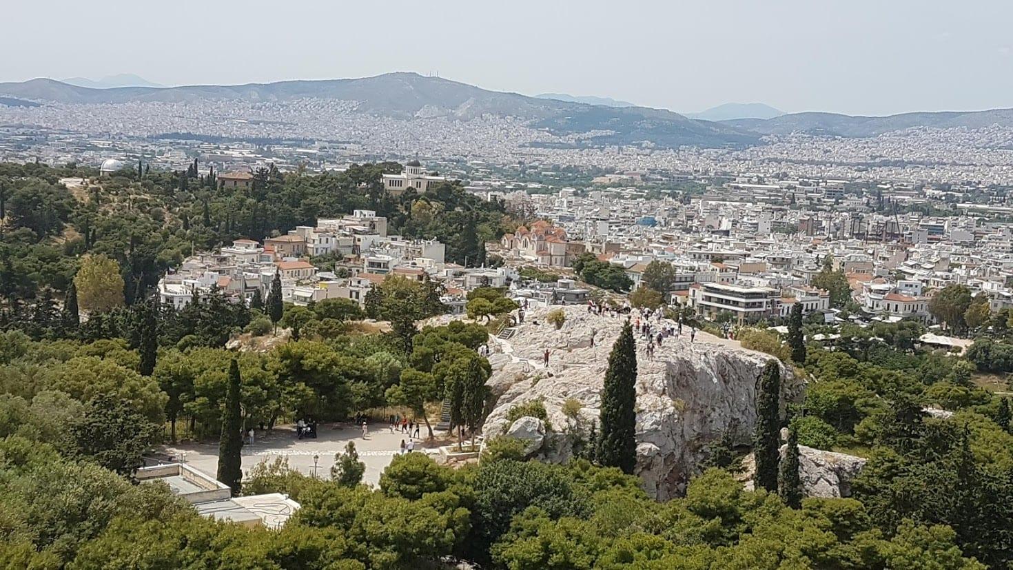 Areios Pagos underneath the Acropolis in Athens Greece