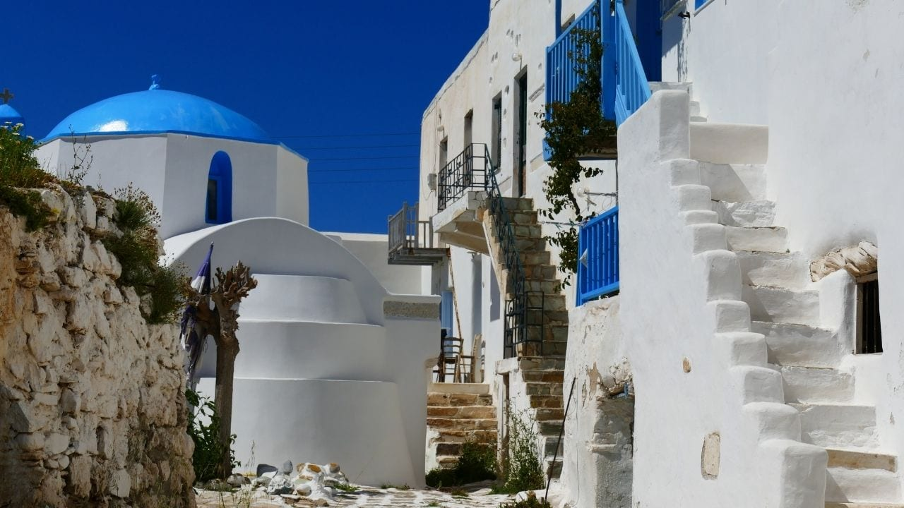 Exploring Antiparos in Greece after arriving by ferry