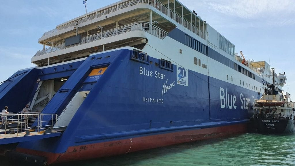 The Blue Star Ferries Naxos vessel sailing from Athens to Amorgos