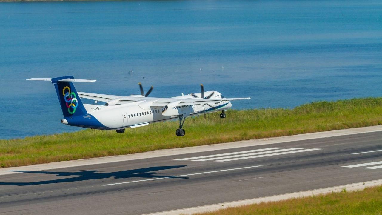 Olympic Airways Plane landing in Corfu