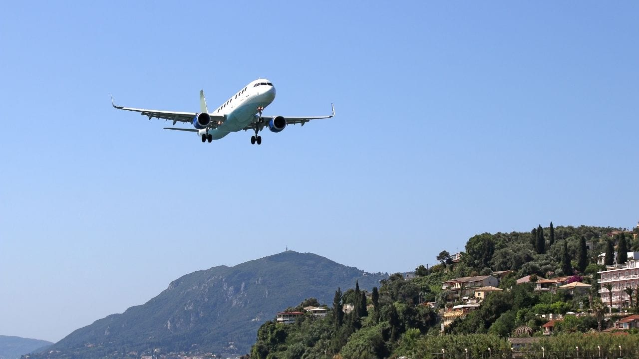 Plane landing on a Greek island