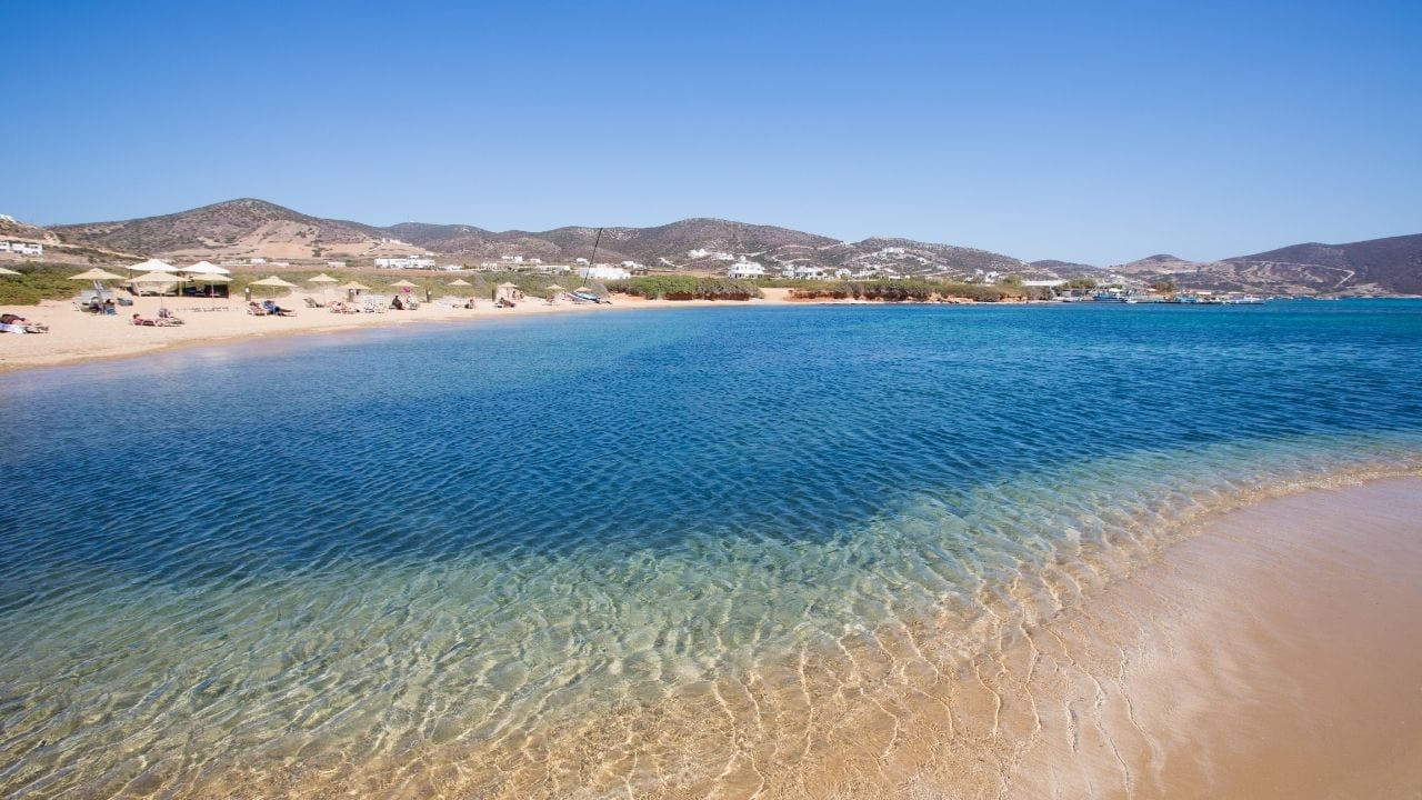 Relaxing at an Antiparos beach after arriving by Greek ferry