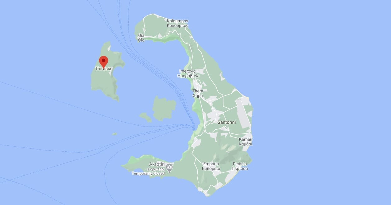 Thirasia island next to Santorini