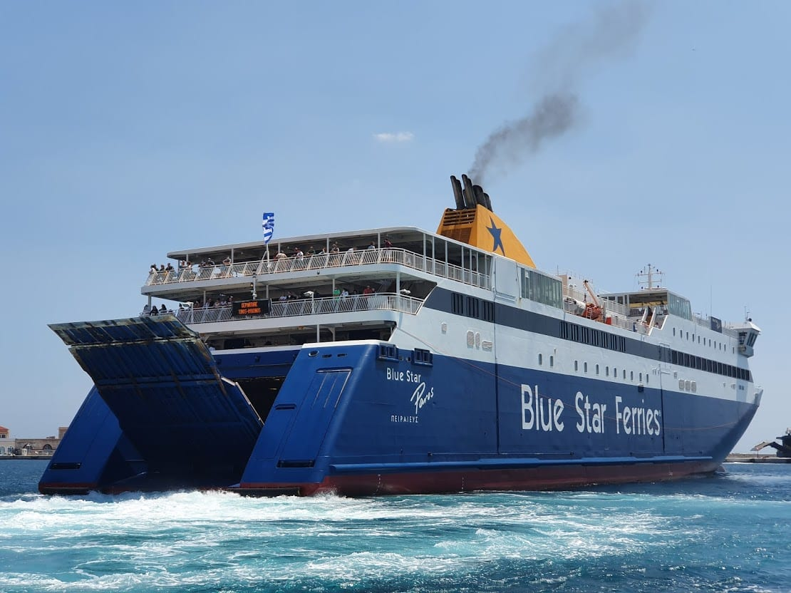 The Blue Star Patmos ferry sailing to Anafi in Greece