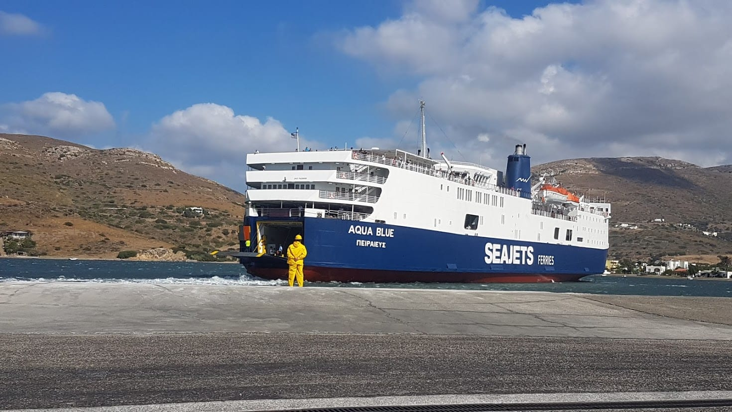 A ferry arriving in the port on Andros island in Greece