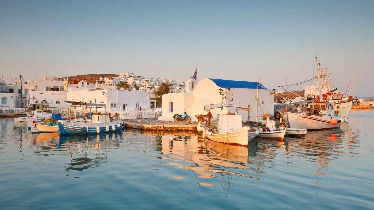 Taking the ferry from Mykonos to Paros in Greece