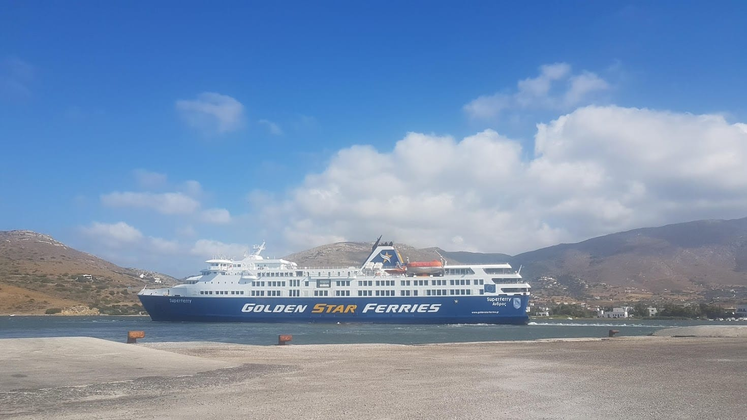Golden Star ferries pulling into Andros Greece ferry port