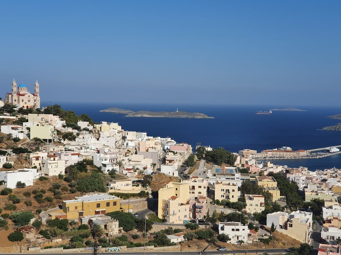 Looking out over Syros in Greece