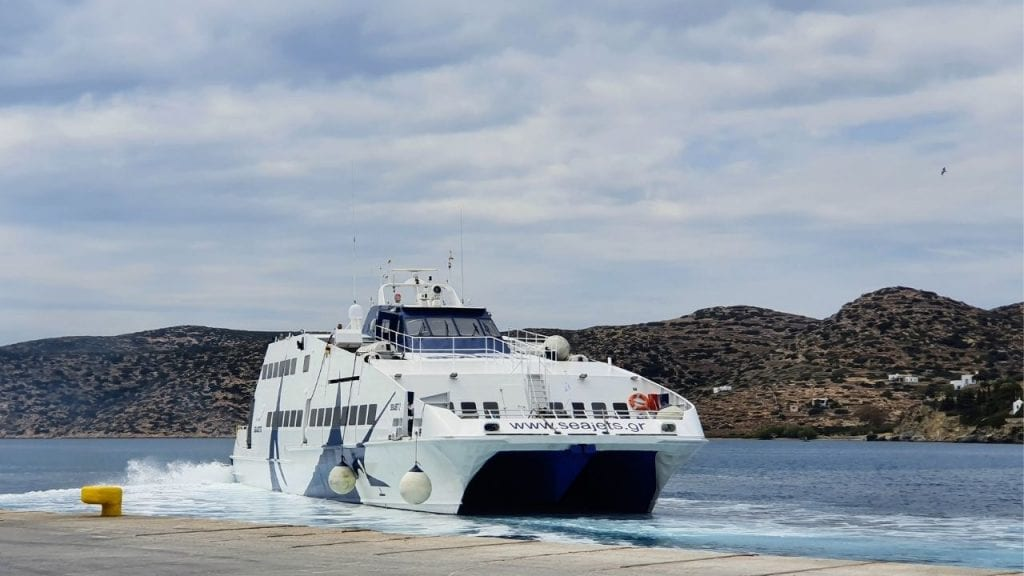 Taking the Seajet ferry from Santorini to Amorgos in Greece