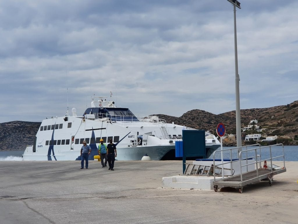The Sesjet ferry arriving in Amorgos