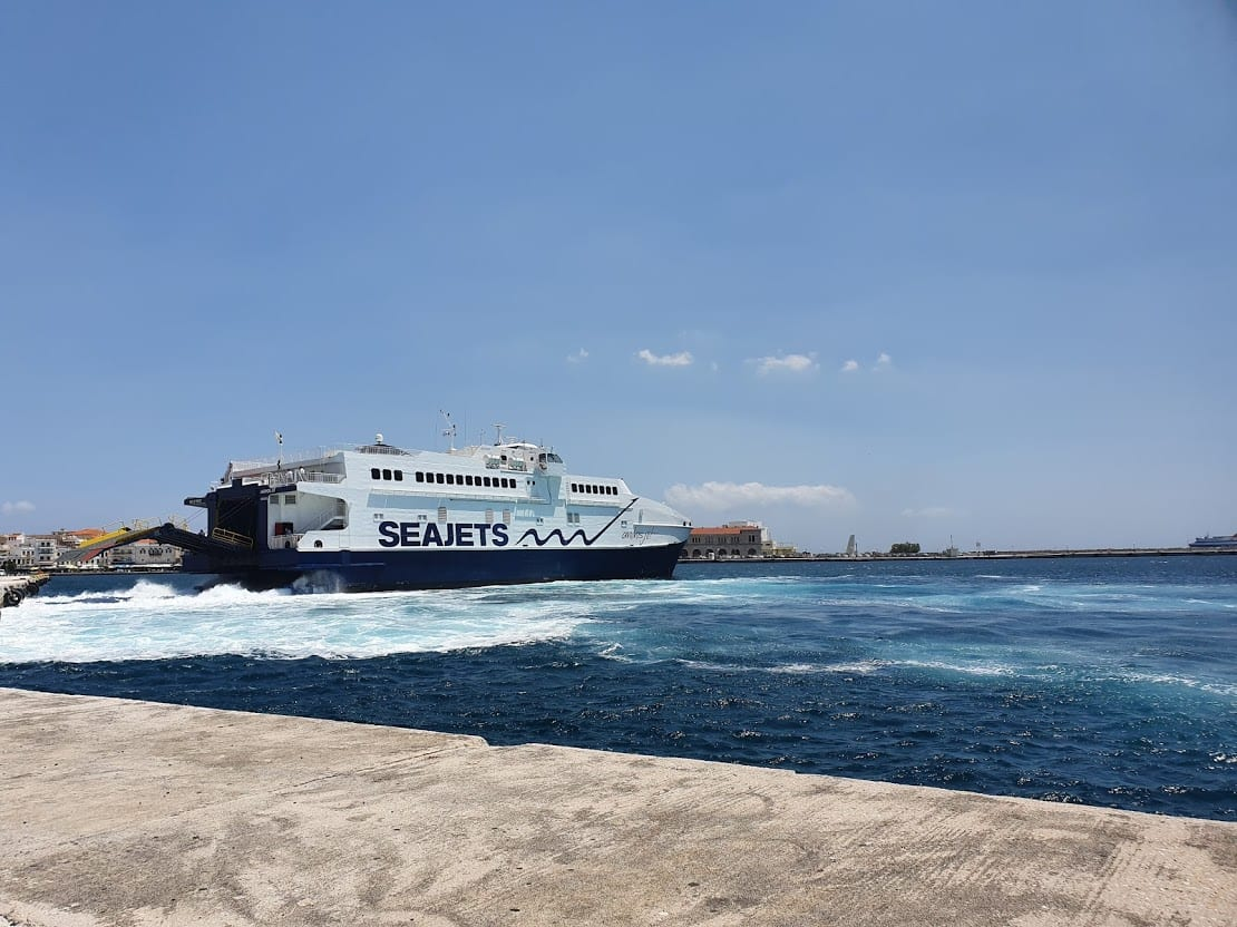Taking the Seajets ferry from Santorini to Syros in Greece