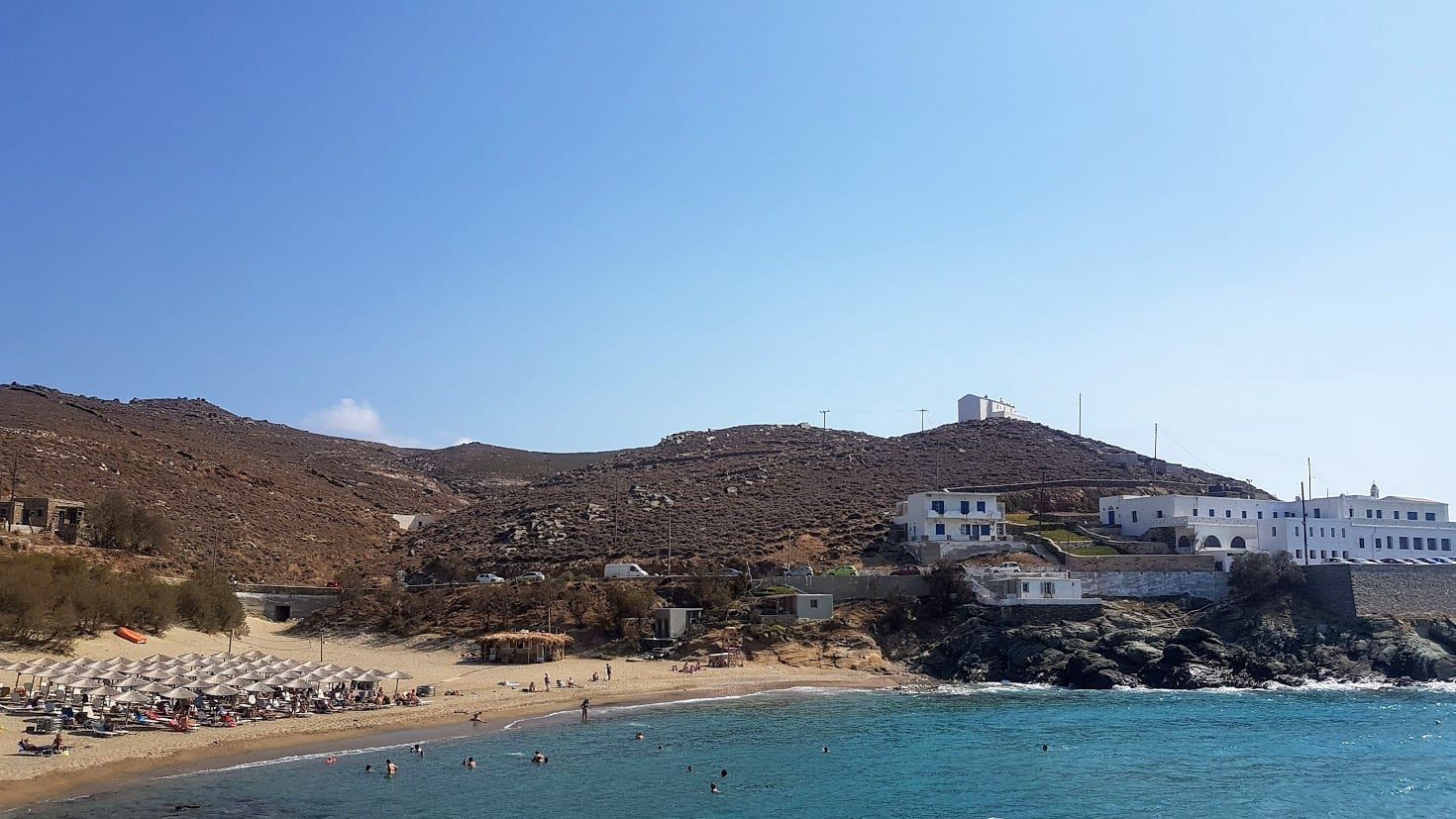 Swimming at a beach in Tinos Greece