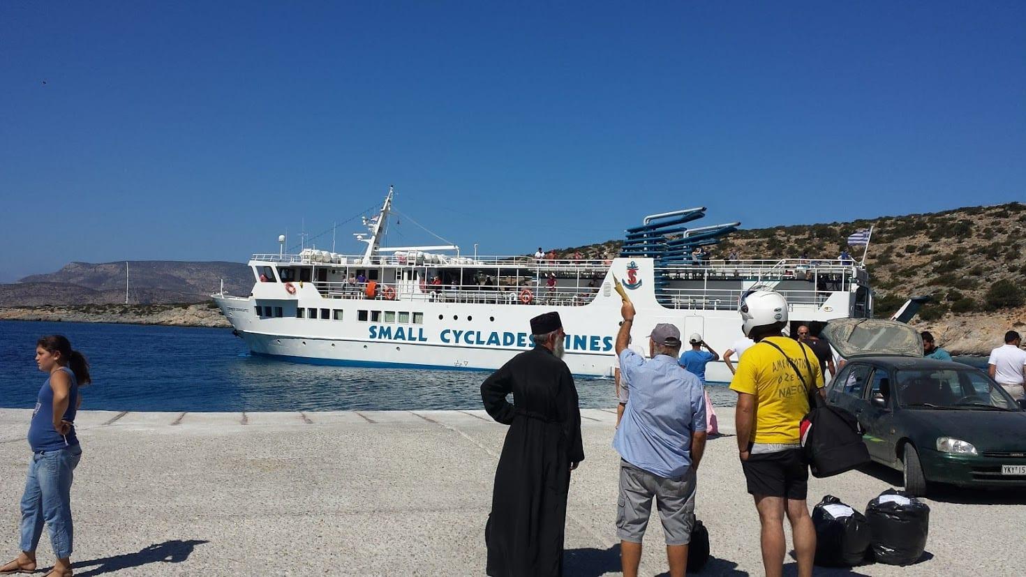 Taking the ferry to Schinoussa