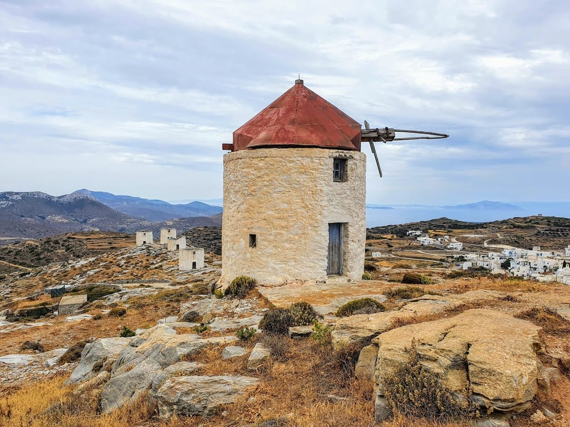 The famous abandoned windmills on Amorgos island in Greece