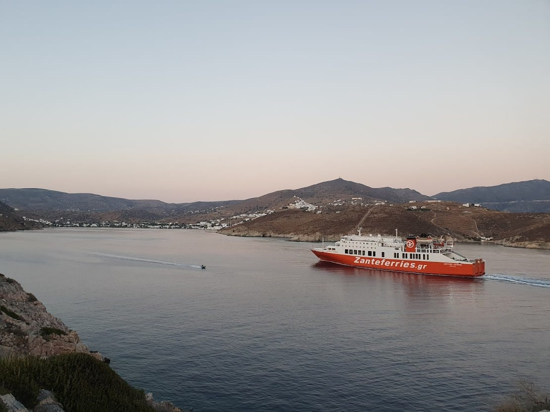 Zante ferries sailing into port in Ios, Greece