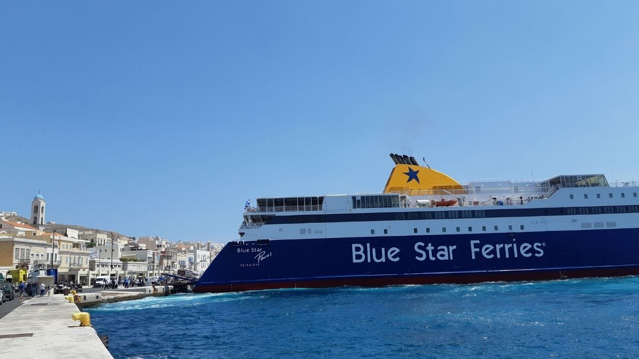 A Blue Star Ferries boat arriving at the port on Syros Island in Greece