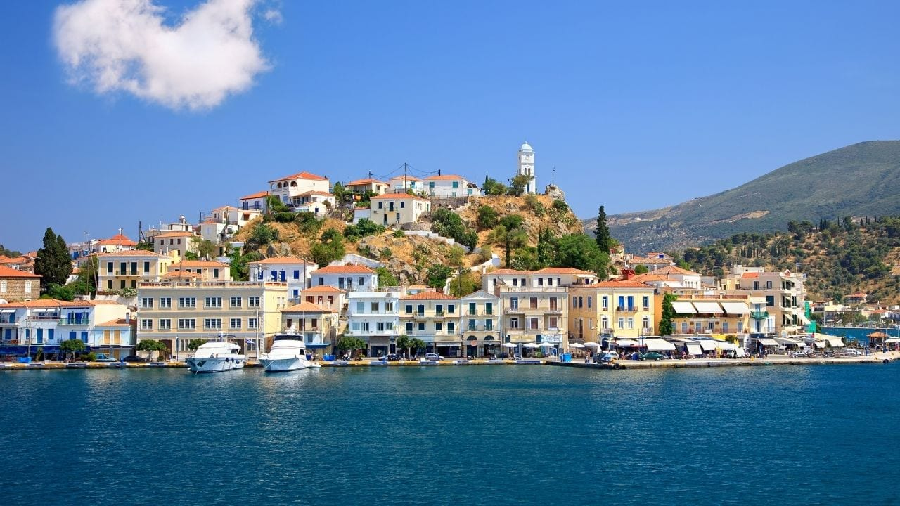 A view looking on to the main town of Poros island, Greece