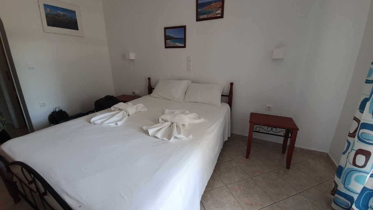 Staying at a budget hotel room in Naxos island greece