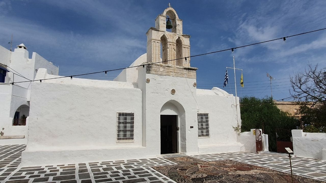 A church in the port of Adamantas in Milos island Greece
