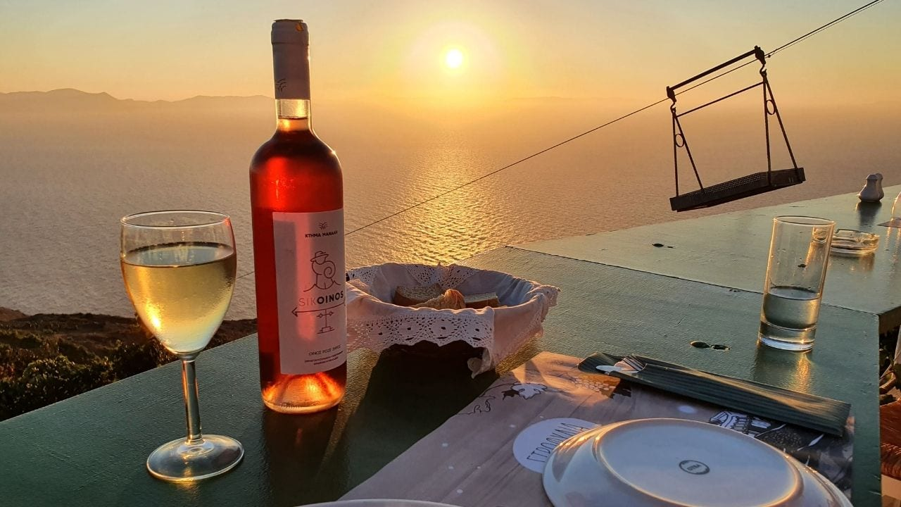 Enjoying a sunset meal in Sikinos Greece