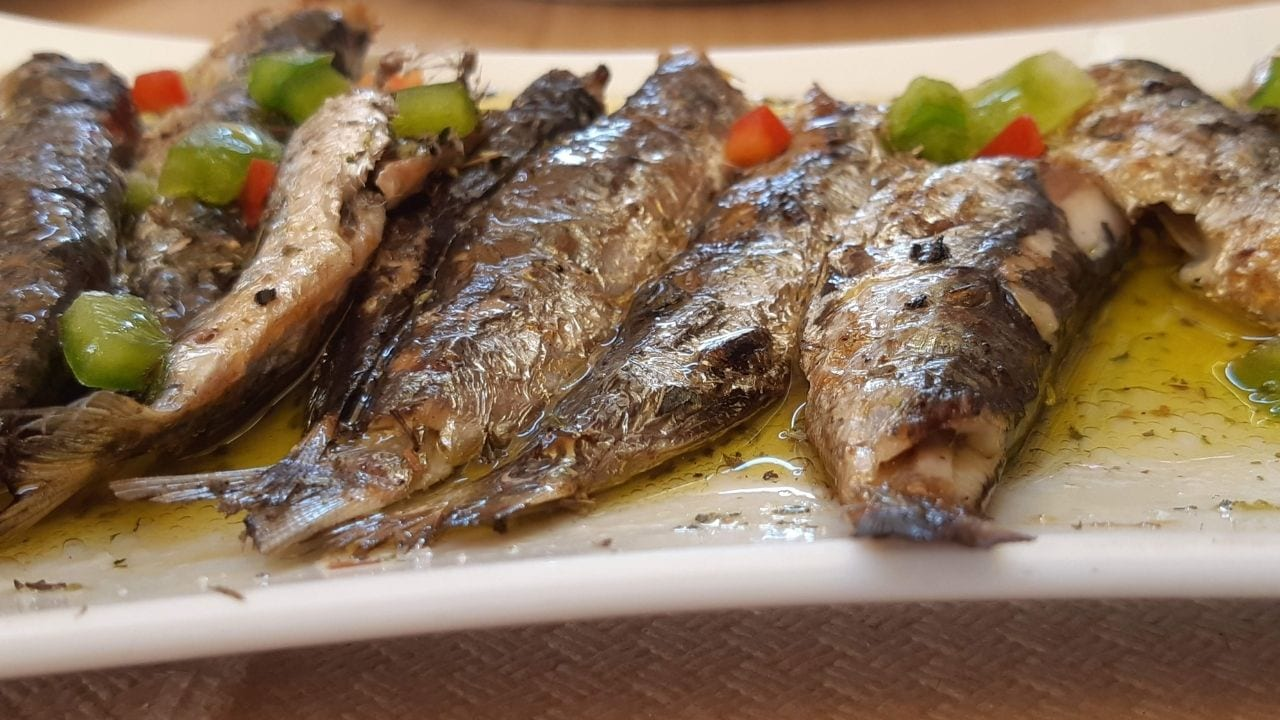 Eating a fish dish in Lavrio