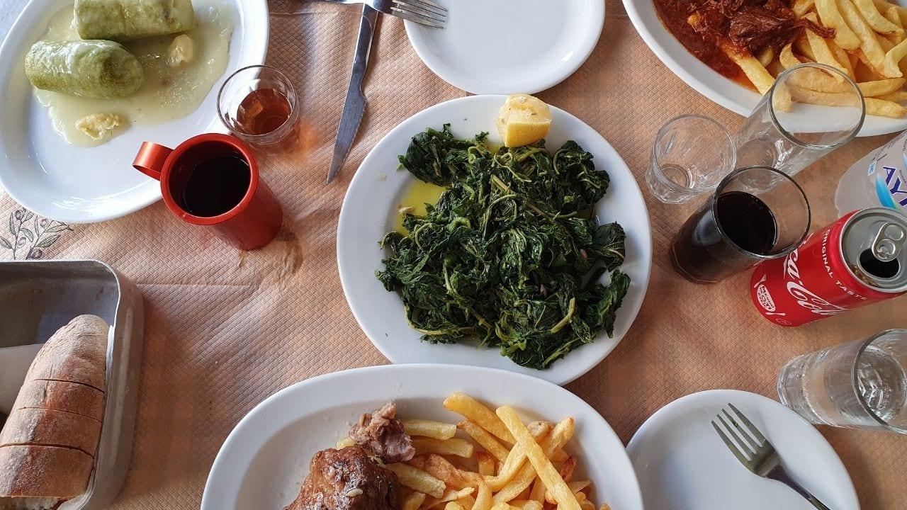 Eating at Maros restaurant in naxos town