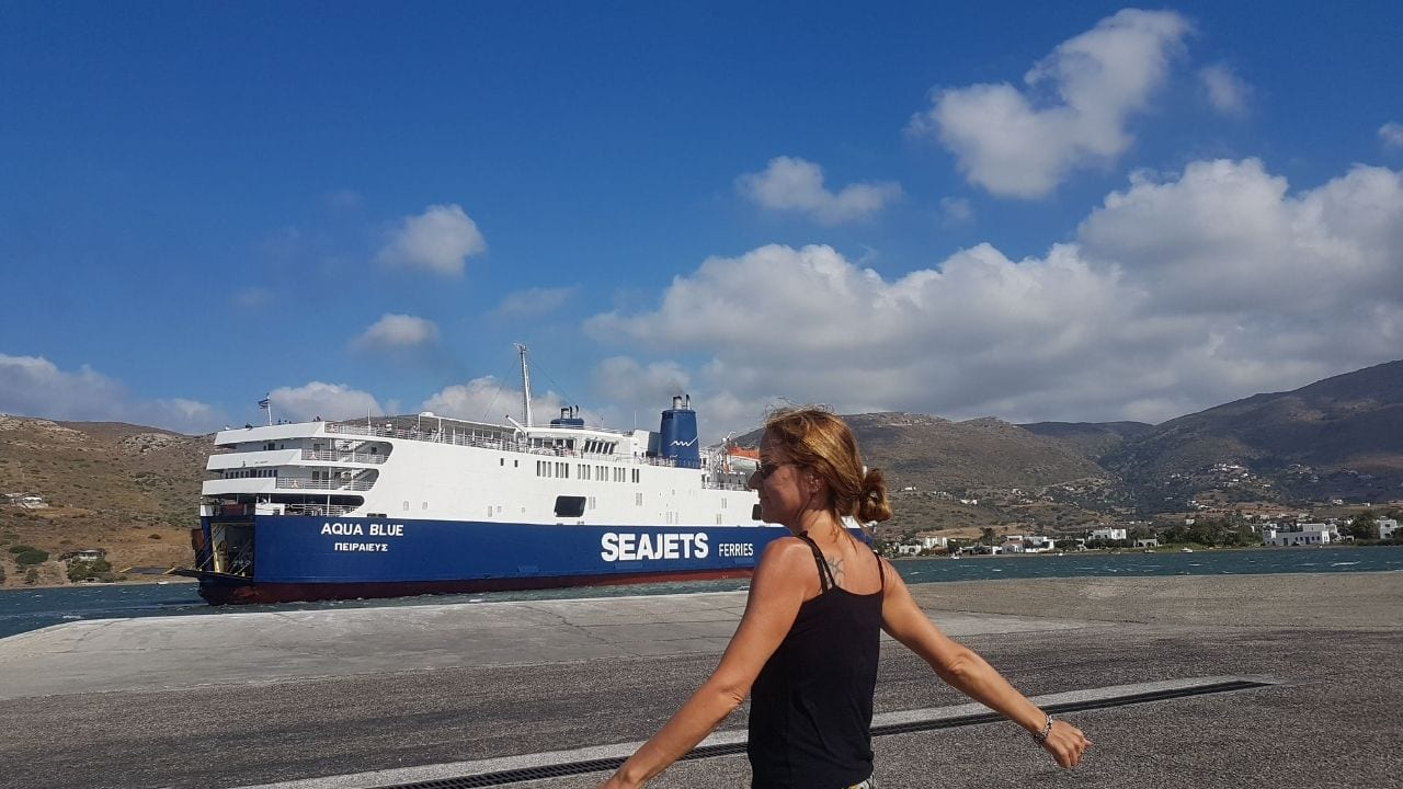 A ferry arriving at Gavrio port in Andros Greece