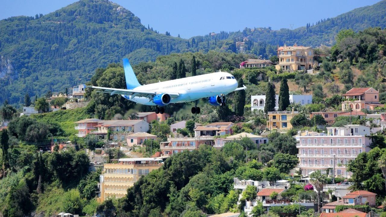 Flying to Corfu ionian island
