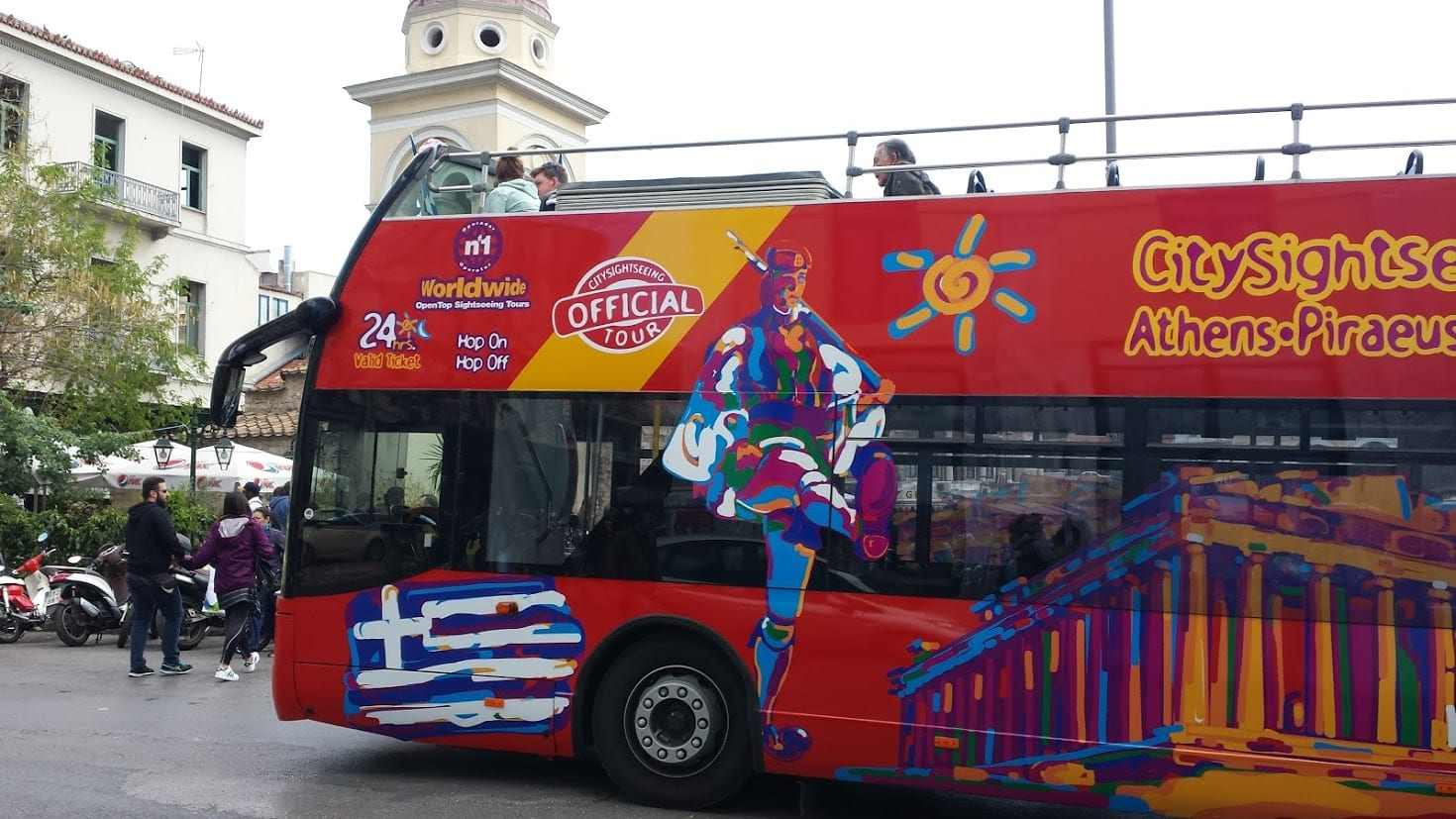 The hop on hop off bus in Athens, Greece