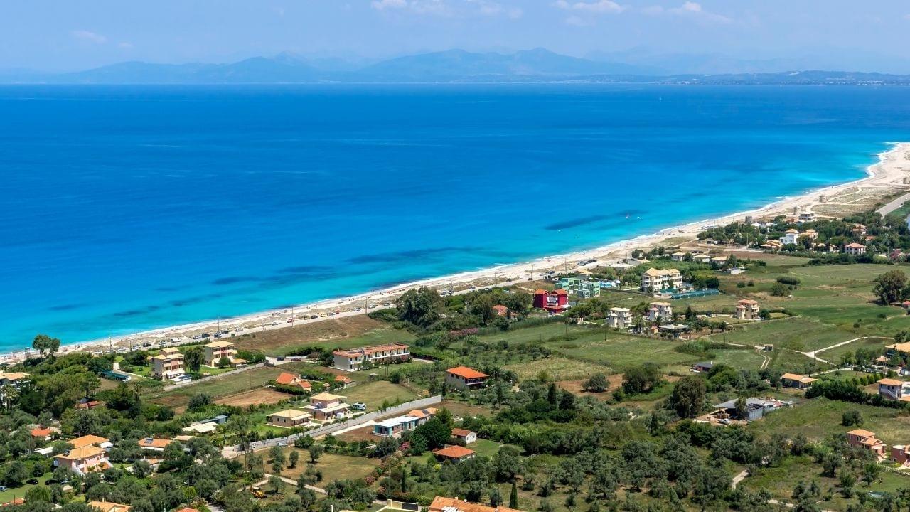 The coastline of the Ionian island of Lefkada in Greece