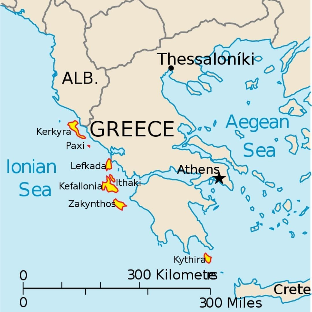 A map of the Ionian Sea islands