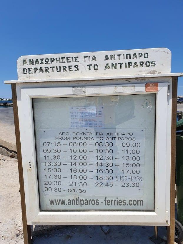 Pounta to Antiparos ferry schedule