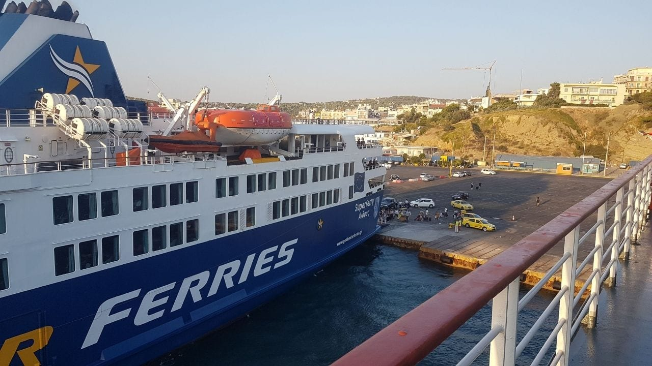 A ferry getting ready to leave from Rafina port in Athens