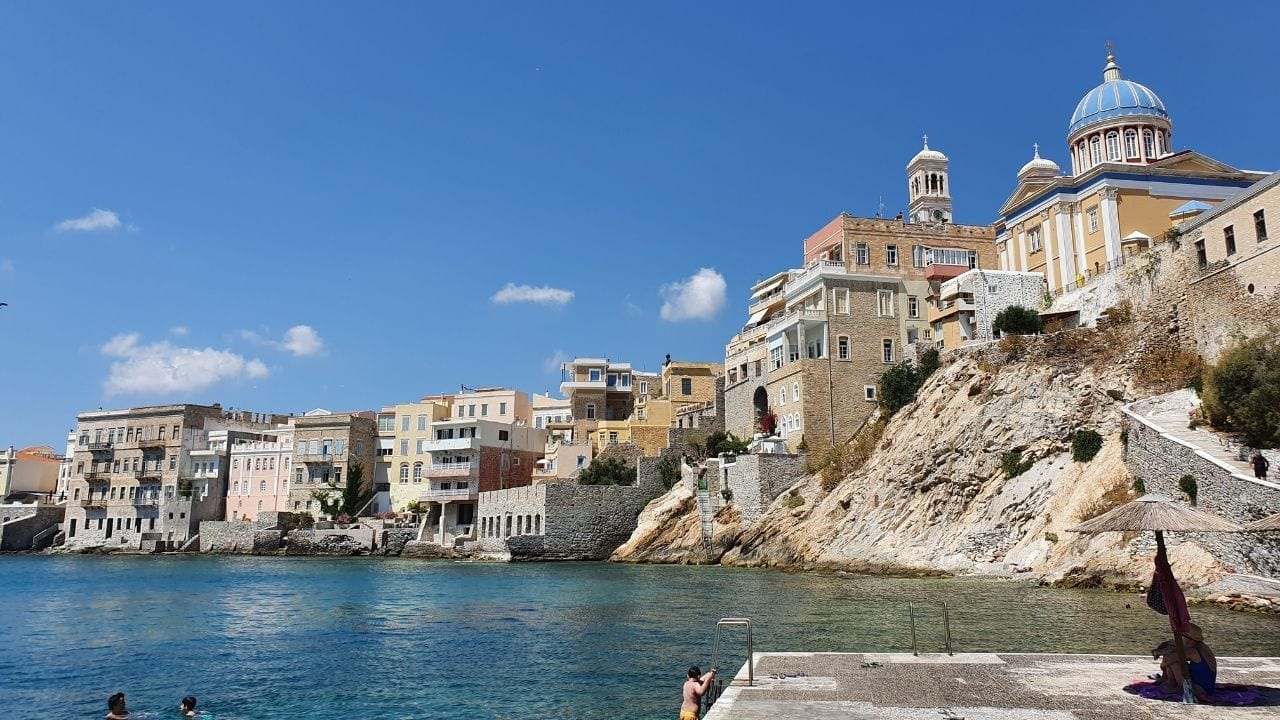 A stunning view of Syros island in Greece
