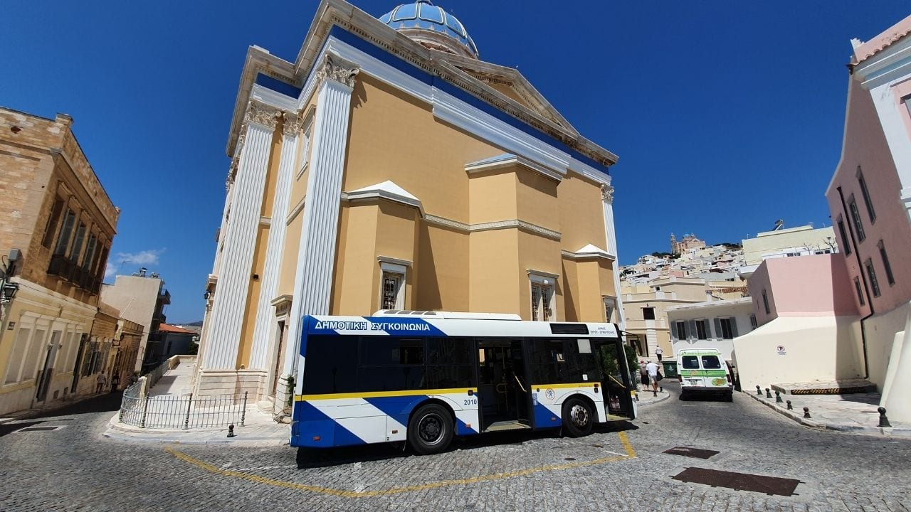 A local bus on Syros island in Greece