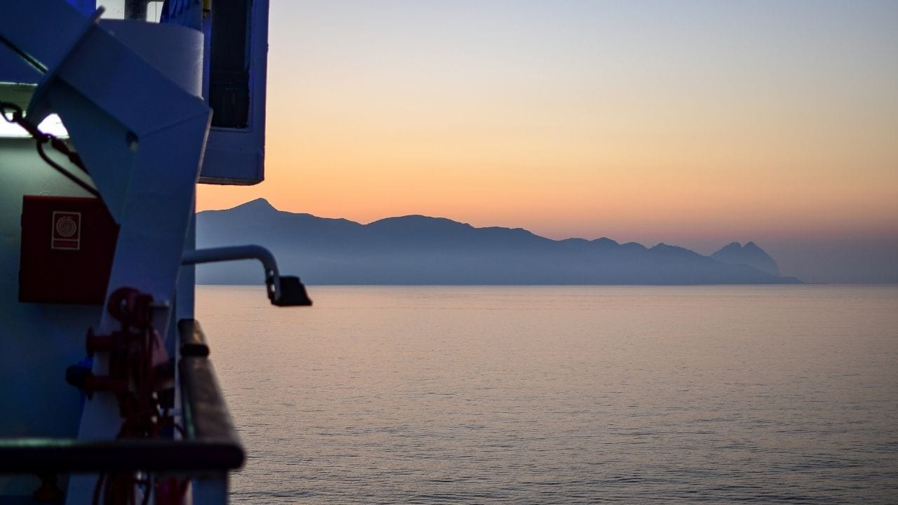 Taking a ferry from the island of Milos to Anafi in Greece