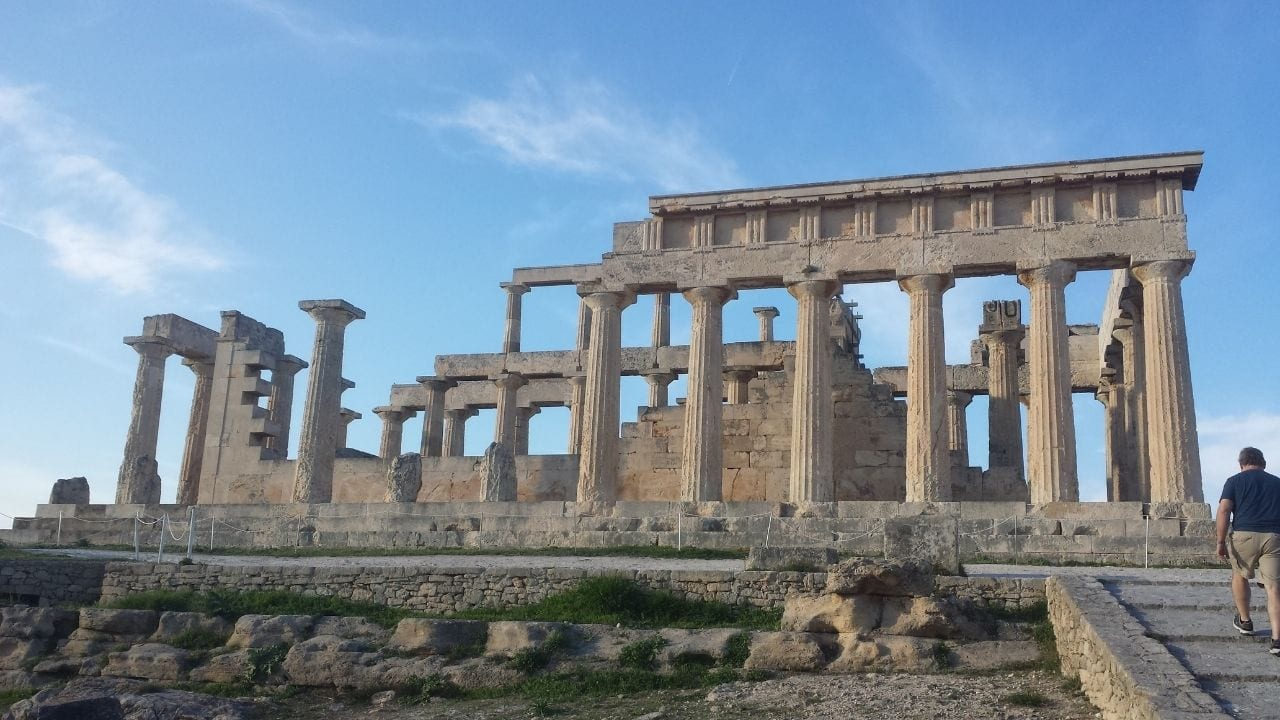Approaching the Temple of Aphaia in Aegina island Greece