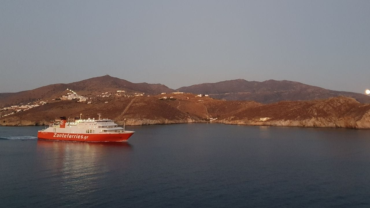 Zante ferries sailing from Milos to Ios island in Greece