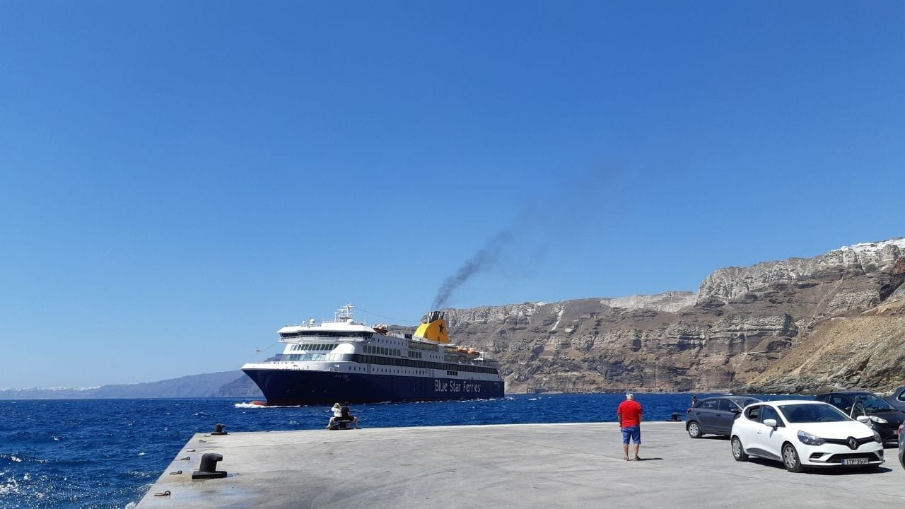 A Blue Star Ferries vessel arriving at the ferry port in Santorini, Greece