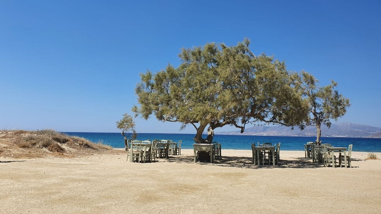 A taverna table by the beach in Naxos