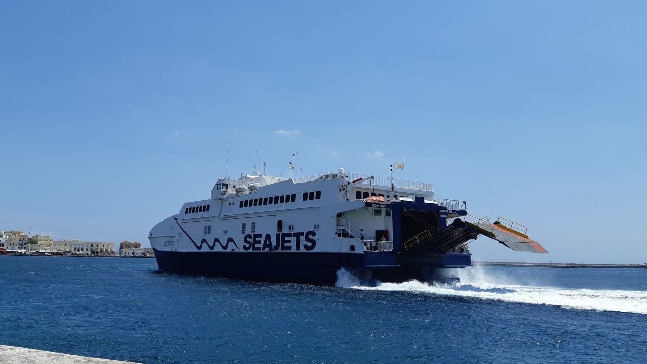 A seajets ferry getting ready to leave from Syros island in Greece
