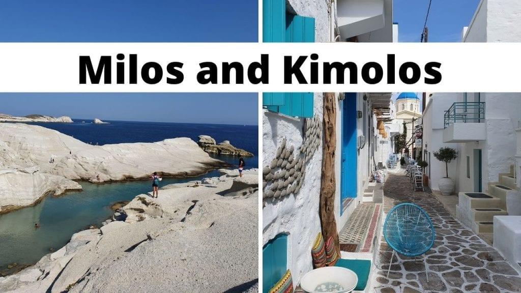 Milos and Kimolos islands in Greece