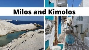 Milos and Kimolos islands in Greece