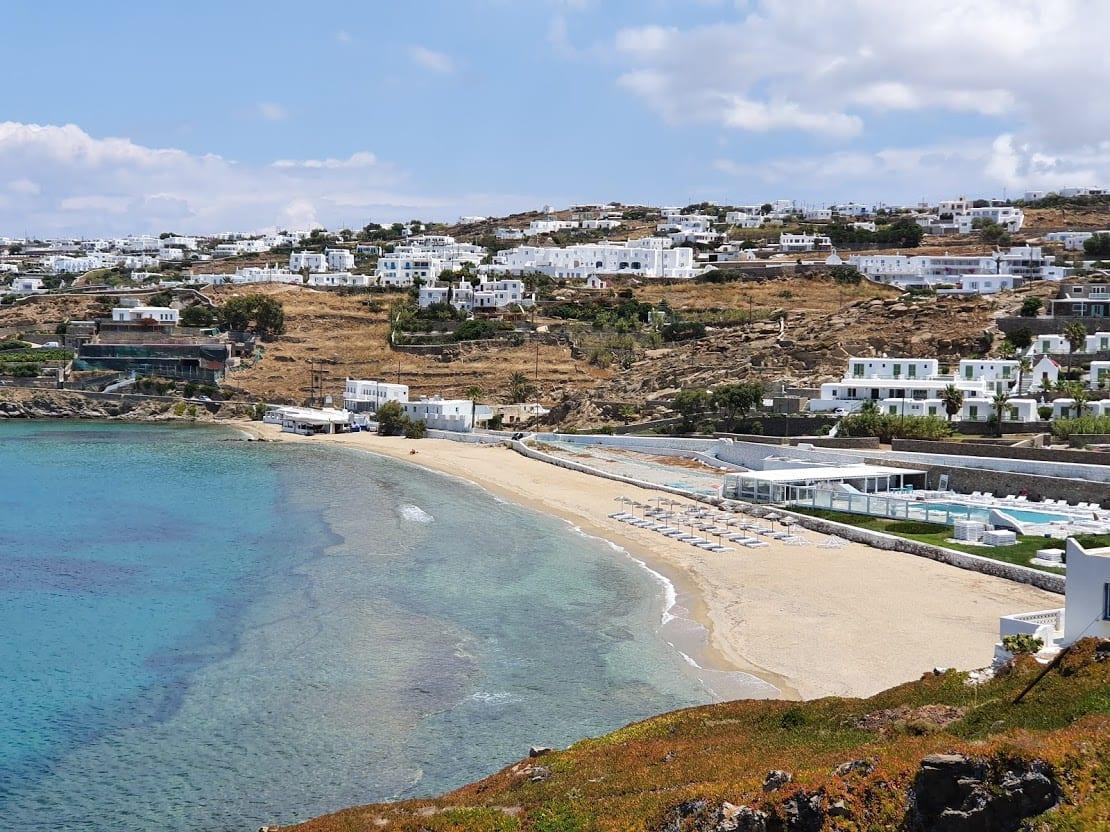 A beach view in Mykonos
