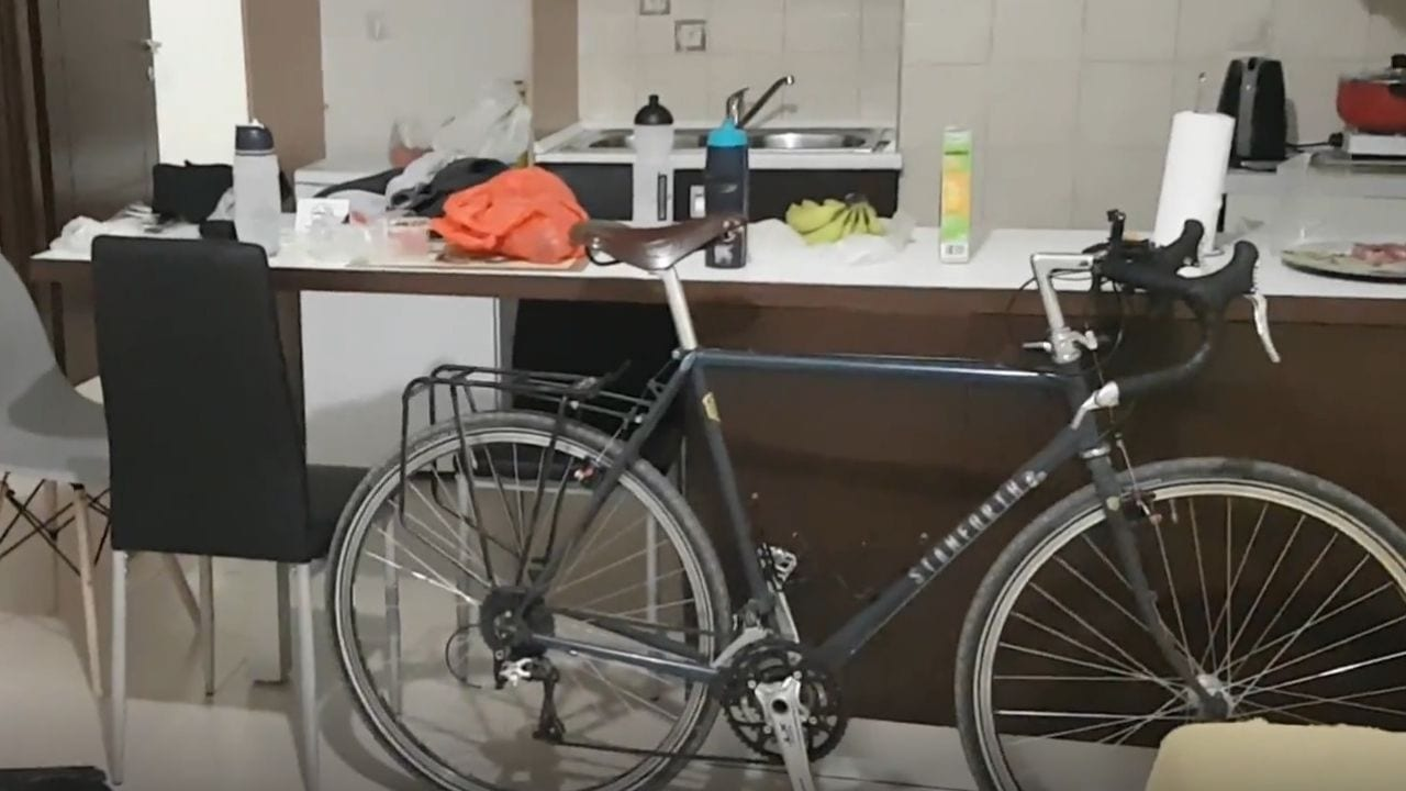 Bicycle in a hotel room